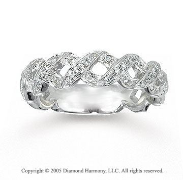 14k White Gold Crisscross 0.40 Carat Diamond Stackable Ring