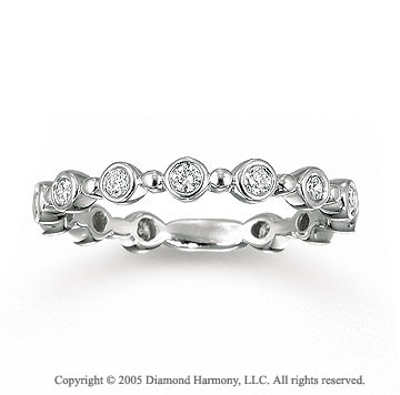14k White Gold Bezel 0.40 Carat Diamond Stackable Ring