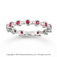 14k White Gold Bezel 1/2 Carat Ruby Stackable Ring