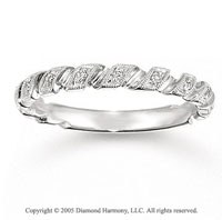 14k White Gold Prong Loop 0.10 Carat Diamond Stackable Ring