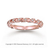 14k Rose Gold Prong Loop 0.10 Carat Diamond Stackable Ring