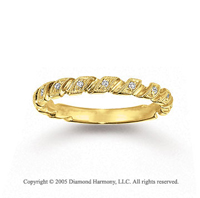 14k Yellow Gold Prong Loop 0.10 Carat Diamond Stackable Ring