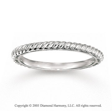 14k White Gold Stylish Slim Rope Style Stackable Ring