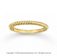 14k Yellow Gold Stylish Slim Rope Style Stackable Ring