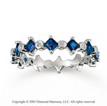14k White Gold Blue Sapphire Diamond Stackable Ring