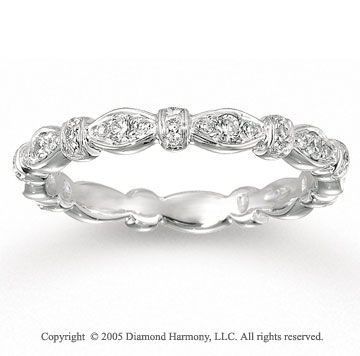 14k White Gold Stylish 1/3 Carat Diamond Stackable Ring