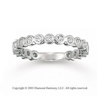 14k White Gold Round Bezel 0.80 Carat Diamond Stackable Ring