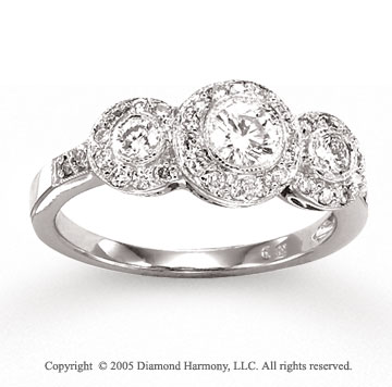 14k White Gold Round 0.80 Carat Three Stone Diamond Ring