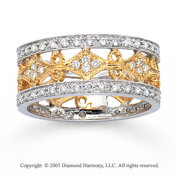 14k Two Tone Gold Filigree Pave 2/3 Carat Fashion Ring