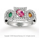 14k White Gold Multi Stone 3/4 Carat Diamond Fashion Ring