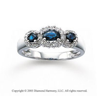 14k White Gold Blue Sapphire 1/4 Carat Diamond Three Stone Ring
