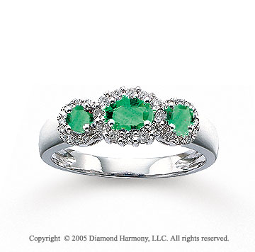 14k White Gold Emerald 1/4 Carat Diamond Three Stone Ring