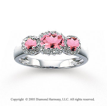 14k White Gold Pink Sapphire 1/4 Carat Diamond Three Stone Ring