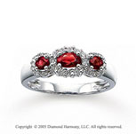 14k White Gold Ruby 1/4 Carat Diamond Three Stone Ring