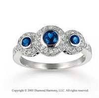 14k White Gold Blue Sapphire Diamond Three Stone Ring