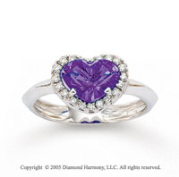 14k White Gold Heart Amethyst 0.10 Carat Diamond Ring