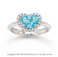 14k White Gold Heart Blue Topaz 0.10 Carat Diamond Ring