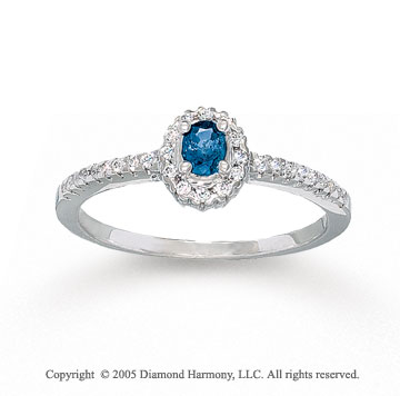 14k White Gold Oval Blue Sapphire 0.20 Carat Diamond Ring