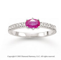 14k White Gold Oval Pink Sapphire 0.10 Carat Diamond Ring