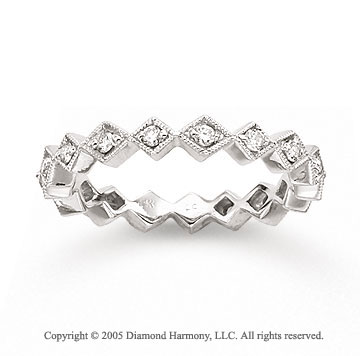 14k White Gold Eternity 1/4 Carat Diamond Stackable Ring