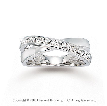 14k White Gold Crisscross Prong Diamond Right Hand Ring