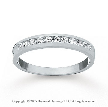 14k White Gold Channel 1/4 Carat Diamond Anniversary Band