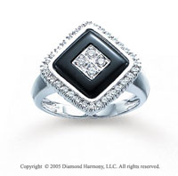 14k White Gold Onyx Round Prong 0.30 Carat Diamond Ring