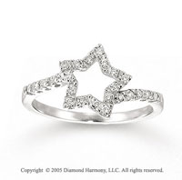 14k White Gold Star Prong 0.20 Carat Diamond Fashion Ring