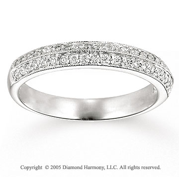 14k White Gold Prong Round 1/4 Carat Anniversary Band