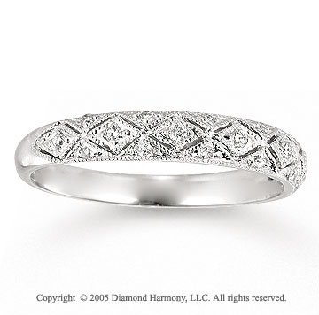 14k White Gold Prong 0.15 Carat Diamond Anniversary Band