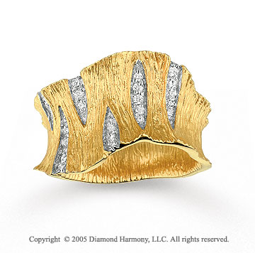 14k Yellow Gold Unique 0.20 Carat Diamond Fashion Ring