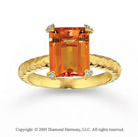 14k Yellow Gold Diamond Baguette Citrine Statement Ring
