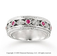 14k White Gold Elegant Round Ruby Diamond Stackable Ring