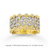 14k Two Tone Gold Stellar Elegance Diamond Fashion Ring