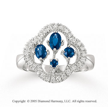 14k White Gold Prong Blue Sapphire Diamond Fashion Ring
