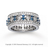 14k White Gold Elegant Blue Sapphire Diamond Stackable Ring