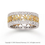 14k Two Tone Gold Filigree 1/2 Carat Diamond Fashion Ring
