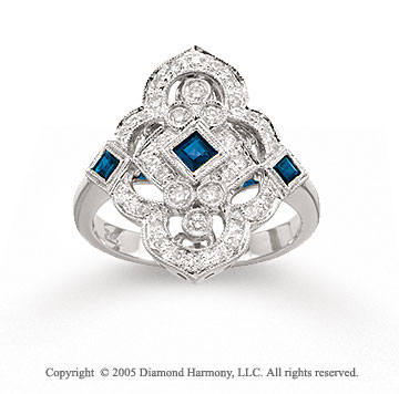 14k White Gold Elegant Blue Sapphire Diamond Fashion Ring