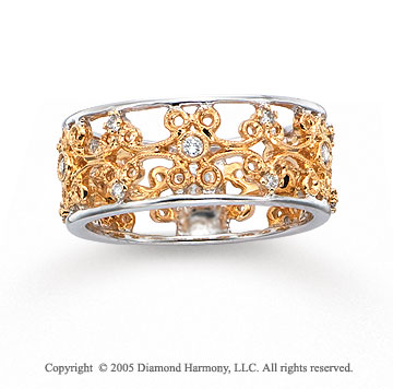 14k Two Tone Gold Filigree Round 1/4 Carat Diamond Fashion Ring