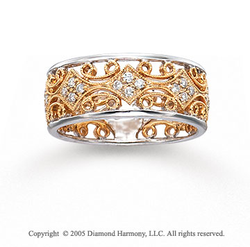 14k Two Tone Gold Filigree 1/3 Carat Diamond Fashion Ring