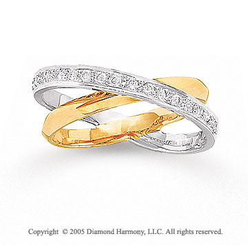 14k Two Tone Gold Dual Band 1/3 Carat Diamond Right Hand Ring