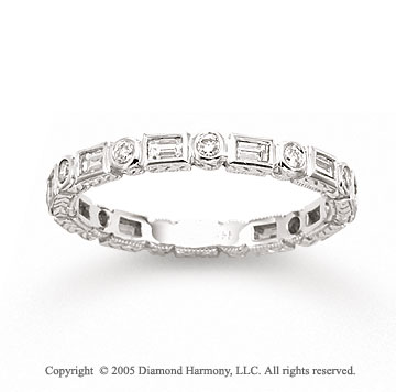 14k White Gold Round Baguette Diamond Stackable Ring