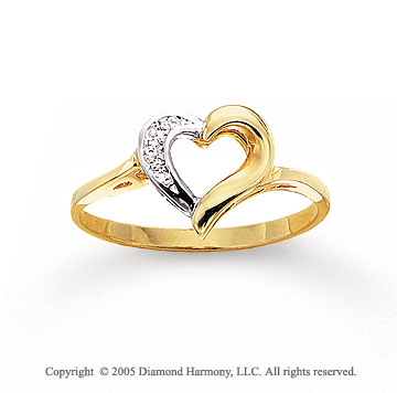 14k Two Tone Gold Round Pave Heart Diamond Fashion Ring
