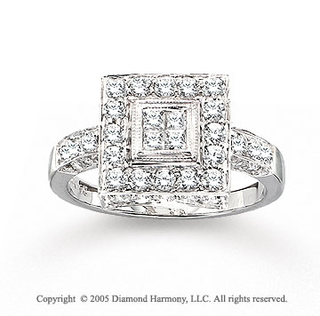 14k White Gold Stylish 1.00 Carat Diamond Fashion Ring