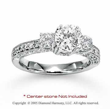 14k White Gold Side Stone 0.60 Carat Diamond Engagement Ring