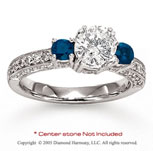 14k White Gold Side Stone Sapphire Diamond Engagement Ring