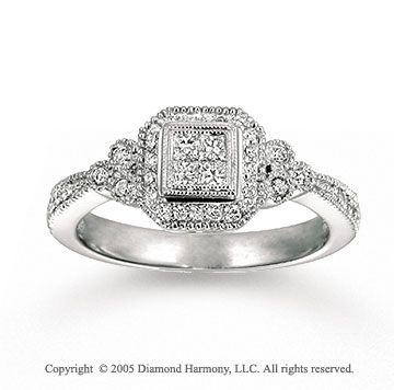 14k White Gold Antique Style 1/5 Carat Diamond Fashion Ring