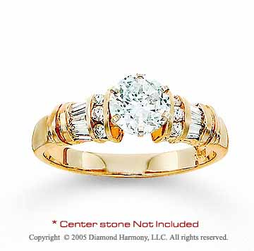 14k Yellow Gold Round/Baguette Diamond Engagement Ring
