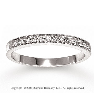 14k White Gold Pave 1/6 Carat Diamond Anniversary Band