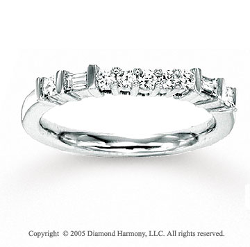 14k White Gold Channel Prong Diamond Anniversary Band